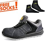 SAFETOE Comfort Wide Fit Safety Shoes - 7331 Man Light Weight Safety Trainers with Composite Plastic Toe Cap, Metal Free Women Size Work Shoes Boots with Breathable Leather Gray
