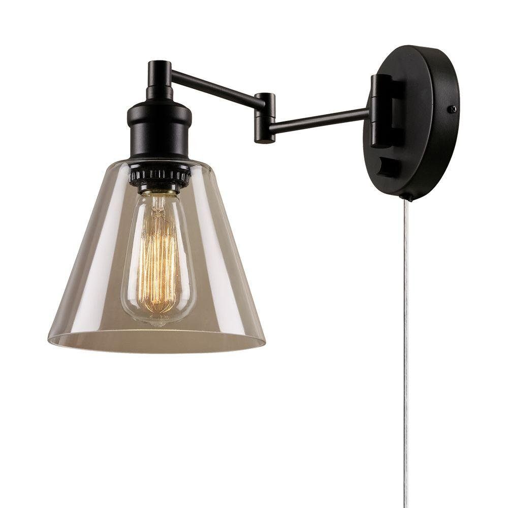 Globe Electric 65311 LeClair Single Light Swing Arm Wall Sconce with Clear Glass, Oil Rubbed Bronze