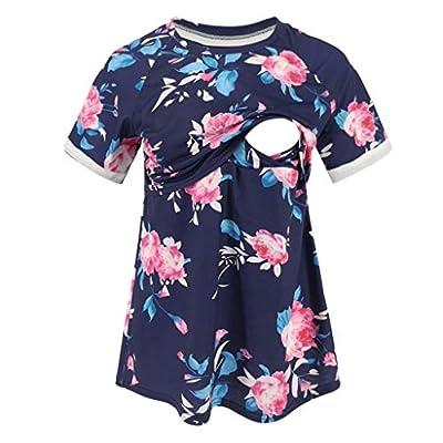 Womens Short Sleeve Maternity Nursing Tops Breastfeeding Shirts Tunic Plus Size