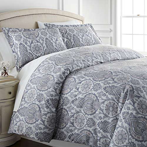 Southshore Fine Living, Inc. Boho Paisley Collection – Premium Quality, Down-Alternative, Hypo-Allergenic, Over-Sized 3-Piece Comforter Set, Full/Queen, Grey