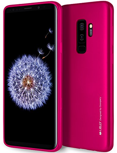 Galaxy S9 Plus Case with Free Screen Protector, [Shockproof] GOOSPERY i-Jelly TPU Case [Thin and Slim] Flexible Bumper Cover for Samsung GalaxyS9Plus - Metallic Hot Pink, S9P-IJEL/SP-HPNK