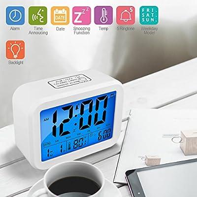 Reloj de alarma digital Reloj despertador digital Reloj de proyección Reloj, fecha, semana, temperatura y luz de fondo (blanco)