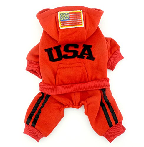 PETLOVE Pet Apparel Small Dog Cat Clothes Costume USA Hoodies with Pants Jumpsuit Four-leg Coat Jacket Clothing Red S