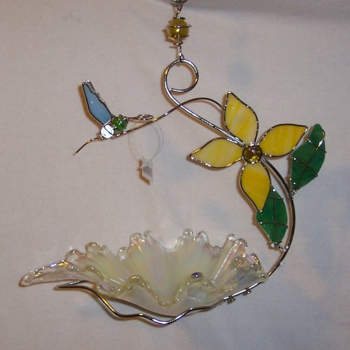 Pearl Colored Glass Bird Feeder with Blue - Lynnwood Glass