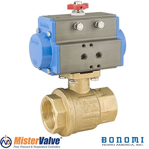 Bonomi 8P0082 - Brass NPT Pneumatic Actuated Ball Valve With Spring Return Actuator Connection 1
