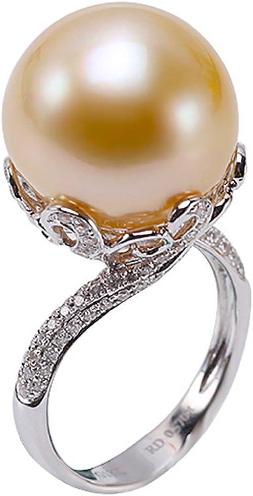 jyx 18K oro enorme 15mm Golden South Sea Pearl Anillo con diamantes