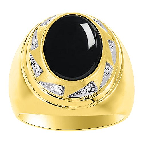 Mens Onyx & Diamond Ring 14K Yellow or14K White Gold