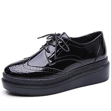 ZHRUI Mujer Pisos de Cuero con Cordones Oxfords Plataforma Mujer Zapatos Casuales (Color : Negro, tamaño : 6.5 UK): Amazon.es: Hogar