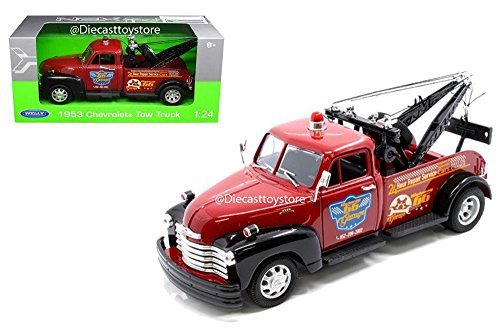 Welly New DIECAST Toys CAR 1:24 W/B 1953 Chevrolet Tow Truck - Highway 66 Garage RED Black Color 22086W-RDBK (Tow Truck Diecast)