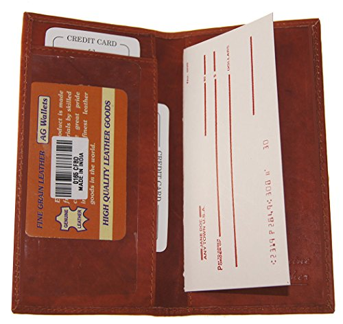 Dallas Cowboys Checkbook Cover (Genuine Leather Plain And Simple Bifold Checkbook Cover Burgundy Color Wallet)