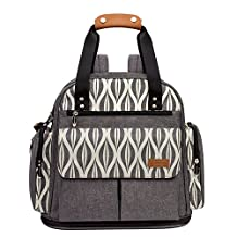 Lekebaby Expandable Diaper Bag Backpack Multi-Function Baby Diaper Bags with Changing Pad & Insulated Pockets & Stroller Straps for Mom and Dad, Grey