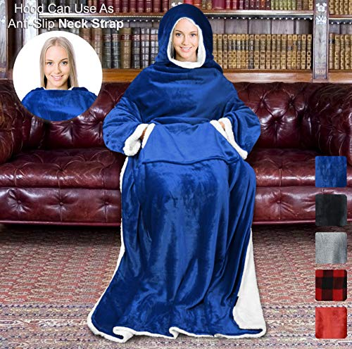 """Sherpa Hood Wearable Blanket for Adult Women and Men, Super Soft Comfy Warm Plush Throw with Sleeves TV Blanket Wrap Robe Hoodie Cover for Lounge Chair Couch 72"""" x 55"""" Blue Navy"""