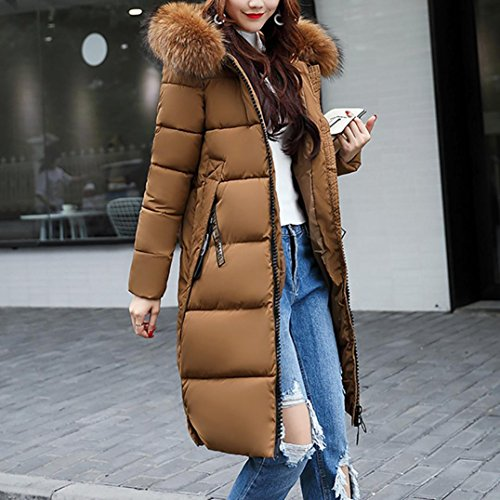 LOOKATOOL Jacket Thicker Winter Down Slim Coffee Lammy Solid Casual Overcoat Women Coat t8Irq8