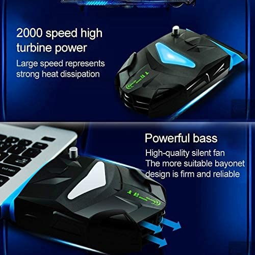 ZT-X7 3.6W Side Exhaust Laptop Bass Cooling Fan with Removable Pad /& Colorful Lights Color : Black