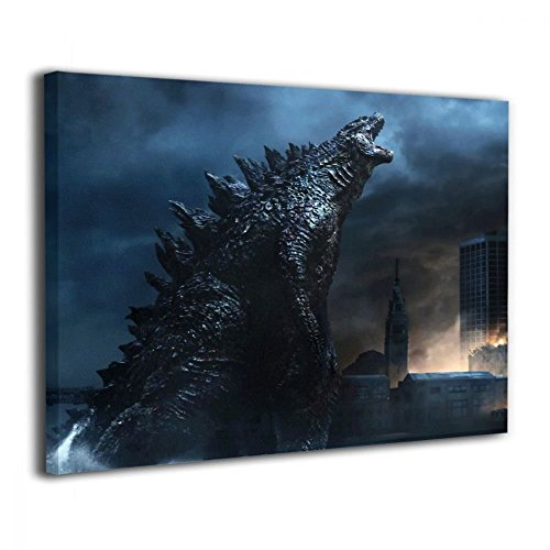 Little Monster Godzilla Thunder City Framed and Stretched Painted On Canvas Decorations Modern Art for Childrens Bedroom Living Room -