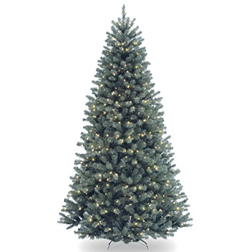 National Tree 7.5 Foot North Valley Blue Spruce Tree with 700 Clear Lights, Hinged (NRVB7-306-75) (Artificial Frosted Tree Christmas)
