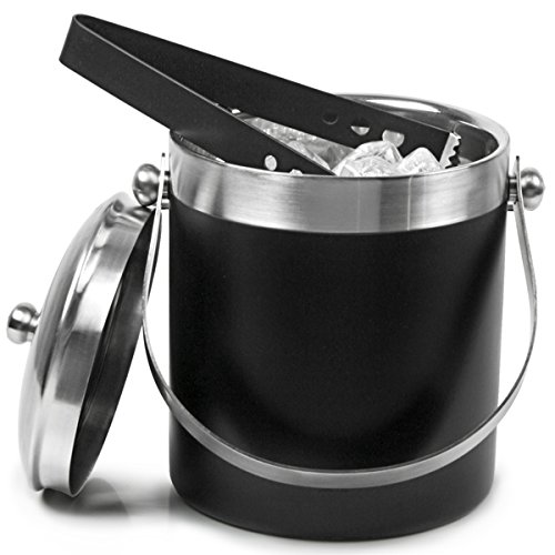 King International Double Wall Insulated Stainless Steel Ice Bucket with Ice Tongs with Lid and Portable Handle | Large Size | 1750 ml by King International