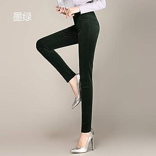 AKDYH Pantaloni da Donna Pantaloni di Velluto A Coste Invernali Pantaloni A Matita Stretch A Vita Alta Era Pantaloni Sottili Piedi