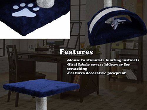 CloudWorks 15'' Small Cat Tree Sisal Scratching Post Furniture Playhouse Pet Bed Kitten Toy Cat Tower Condo for Kittens (Navy Blue) by HIDING by CloudWorks Cat (Image #8)