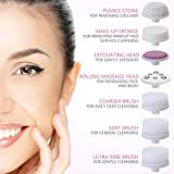 Facial Cleansing Brush, PIXNOR Waterproof Face Brush with 7 Brush Heads for Deep Cleansing, Gentle Exfoliating, Removing Blackhead, Massaging