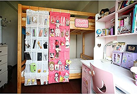 Pink Laundry Items 24 Pocket Hanging Wall Organizer,Over The Door Hanging Shoe Organizer Bag with Customized Metal Hooks Accessories for Bathroom Toys Storage