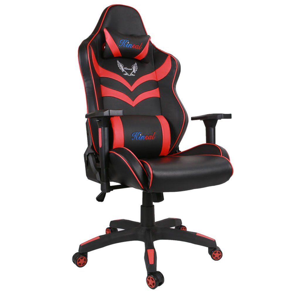 Kinsal Gaming Chair Including Headrest and Lumbar Support, Executive Computer Chair High-back Ergonomic Desk Chair Racing Chair, Leather Office Chair (Red/Black)