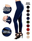 Sejora Fleece Lined Leggings High Waist Compression Slimming Warm Opaque Tights (One Size, Navy)