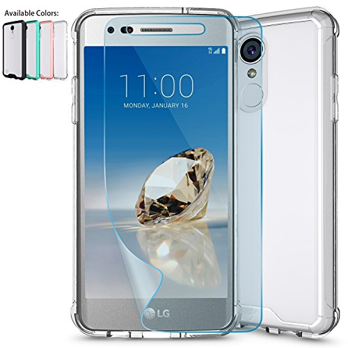 LG Aristo Case,LG Phoenix 3 Case,LG Fortune,LG Rebel 2 LTE / Risio 2 Clear Case w/ HD Screen Protector,NiuBox Armor Ultimate Crystal PC Cover TPU Bumper Protective Phone Case for LG K8 2017 Clear