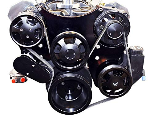 A-Team Performance Small Block Serpentine Front Drive System Complete With Brackets and Pulleys, Water Pump, Alternator, A/C Compressor and Power Steering Reservoir Compatible with Chevy Black