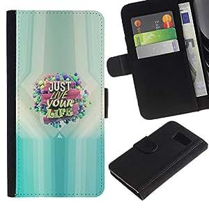 NEECELL GIFT forCITY // Billetera de cuero Caso Cubierta de protección Carcasa / Leather Wallet Case for Samsung Galaxy S6 // SÓLO VIVE TU VIDA