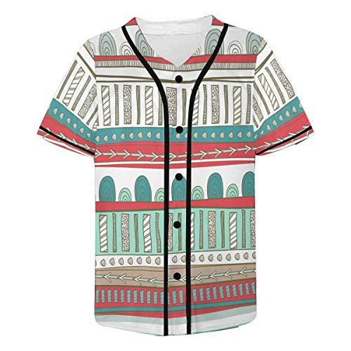 (INTERESTPRINT Men's Texture with Tribal Baseball Jersey Button Down T Shirts XS)