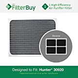 Hunter 30920 30905 Air Purifier Replacement Filter. Designed by FilterBuy to fit Hunter Models 30050, 30055, 30065, 37065, 30075, 30080 & 30177.