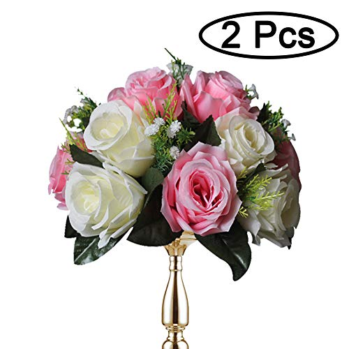 Sziqiqi Pack of 2 Fake Flower Bouquet, Plastic Roses with Base, Suit for Wedding/Party Centerpiece Road Lead Flower Rack Decorations, 2 Pieces