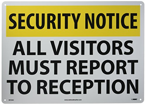 """UPC 887481086262, NMC SN10AC Security Sign, Legend """"SECURITY NOTICE - ALL VISITORS MUST REPORT TO RECEPTION"""", 20"""" Length x 14"""" Height, Aluminum, Yellow/Black on White"""