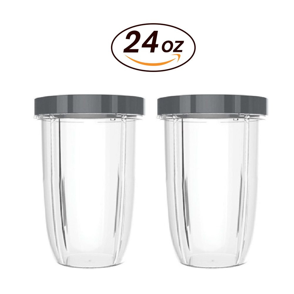 2 PACK CUP-24oz Cup with Lip Ring for NUTRIBULLET 600W 900W by KORSMALL