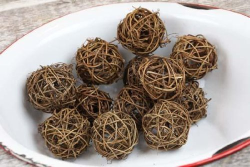 Package of 12 Natural Twig Rattan Decorative Balls for Home Decor, Interior Design, and Crafting (Balls Rattan Craft)