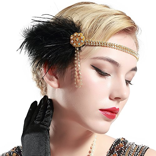 Price comparison product image BABEYOND Vintage 1920s Flapper Headband Roaring 20s Great Gatsby Headpiece with Feather 1920s Flapper Gatsby Hair Accessories (Black)