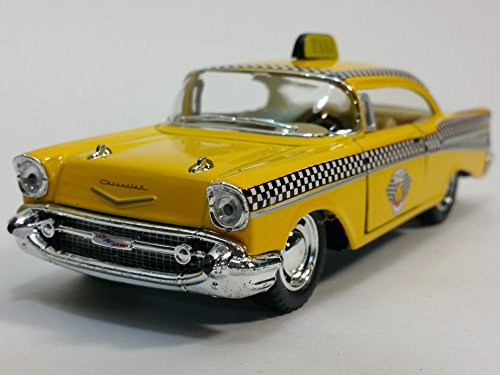 Diecast Taxi Car (Kinsmart 1957 Chevy Bel Air Checker Yellow Taxi Cab 1/40 O Scale Diecast Commercial Car)