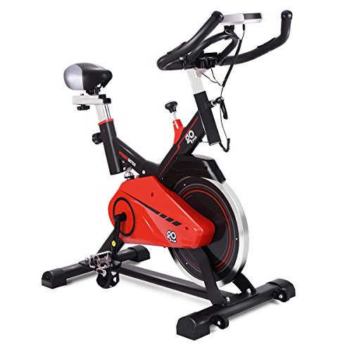 Goplus Exercise Bike Indoor Cycle Bike Stationary Trainer Bicycle with 28lbs Flywheel Cardio Adjustable Workout Bike