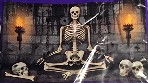 Halloween Sitting Skeleton Wall Decoration 42 x 72 inches (Printable Skeletons Halloween)