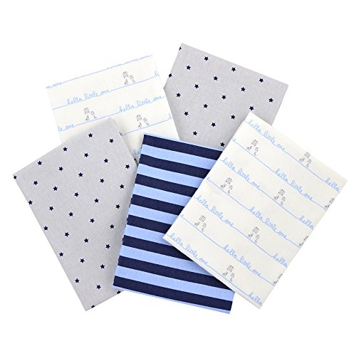 Gerber 100% Cotton Receiving Blankets, Blue Flannel, 5 (Blue Receiving Blanket)