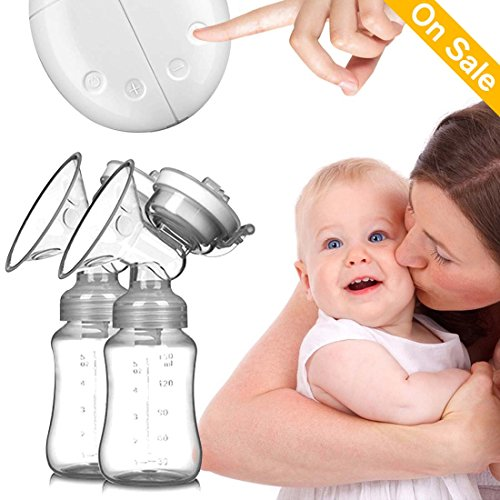 Baabyoo Baby Breastfeeding Breast Pumps Double Electric Baby Breastpumps Milk Bottle Milk Suction and Breast Massager Breast Care Portable Pumps for Travel and Home Double Electric Breast Pump from B. Toys