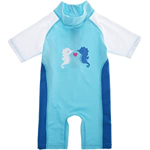 02af253643b03 Alove Baby Girls Boys Striped Rash Guard One Piece Swimsuit UV Protective  Sunsuit UPF 50+