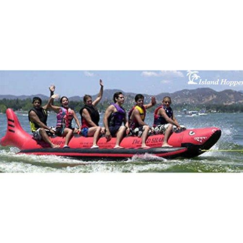 Island Hopper 6 - Passenger Inline Heavy Commercial Red Shark Banana Boat Water Sled