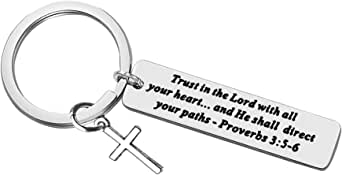 Christian Keychain Gifts Faith Keychain Stainless Steel Enlighten The Mind & Empower the Spirit,Charm Religious Jewelry Christmas Friendship Present 1PCS