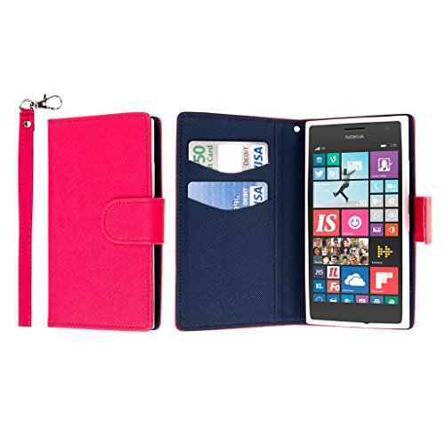 MPERO Nokia Lumia 730 / 735 Wallet Case, [Flex Flip] Cover with Card Slots and Wrist Strap (Hot Pink / Navy) (Lumia 730 Best Price)