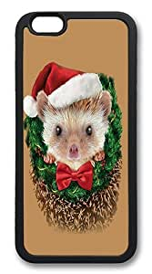 iPhone 6 Case, Soft Flexible TPU Bumper Protective Case Black Skin Scratch-Proof Case for iPhone 6 (4.7 inch) - Hedgehog Christmas Pattern