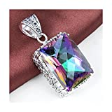 Amazing Shining Ct Huge Vintage Natural Rainbow Mystical Topaz Gemstone Silver Necklace Pendant Color 7