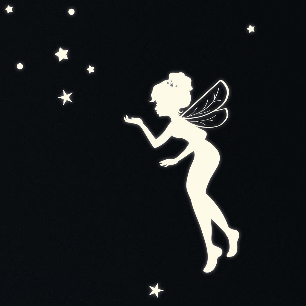 fluorescent fairy elf and 130 glow in the dark stars wall fluorescent fairy elf and 130 glow in the dark stars wall decal for a starry sky amazon co uk kitchen home