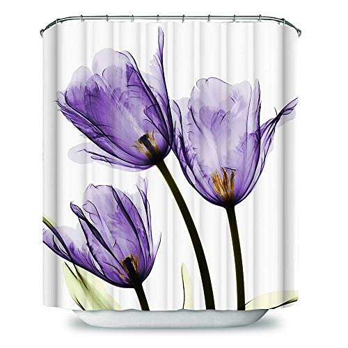 Payanwin Purple Tulip Flowers Florals Shower Curtains Fabric Polyester Bathroom Curtains Hooks (Trio X-Ray) 72x72inch (Purple Shower Stall Curtains)